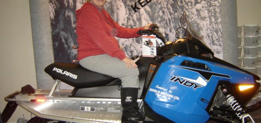 Wendy Kistner of Porcupine Plain was the lucky winner of the Polaris 600 snowmobile offered by lottery at the Kelvington Trailblazers' Derby.