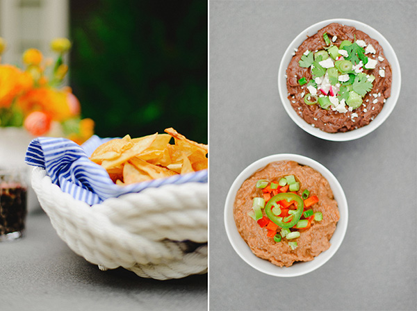 Homemade Tortilla Chips & Refried Beans
