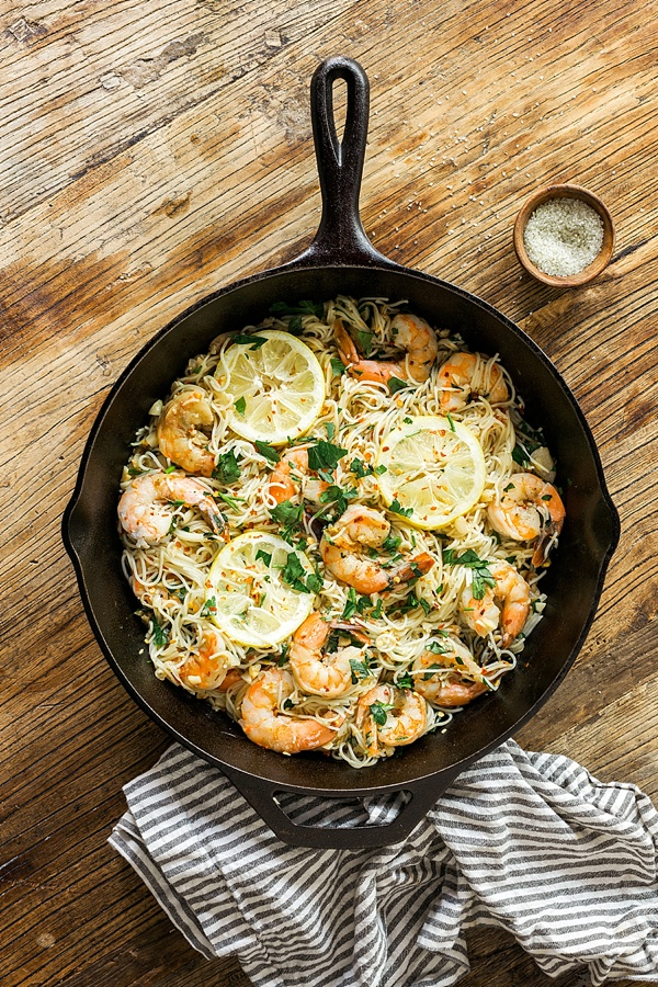 Classic shrimp scampi recipe via Waiting on Martha