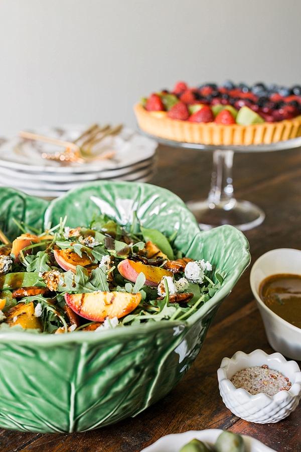 Grilled peach salad recipe by Waiting on Martha