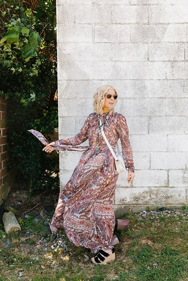 Paisley chiffon maxi dress with black platform wedges, Waiting on Martha