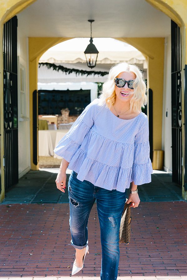 MDS Stripes blue ruffle top