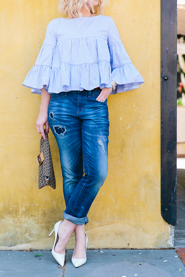 MDS Stripes light blue ruffle tiered top