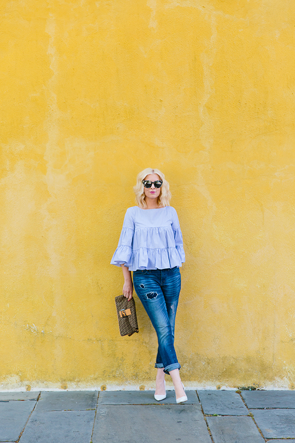 Blue ruffle top and boyfriend jeans outfit, Waiting on Martha