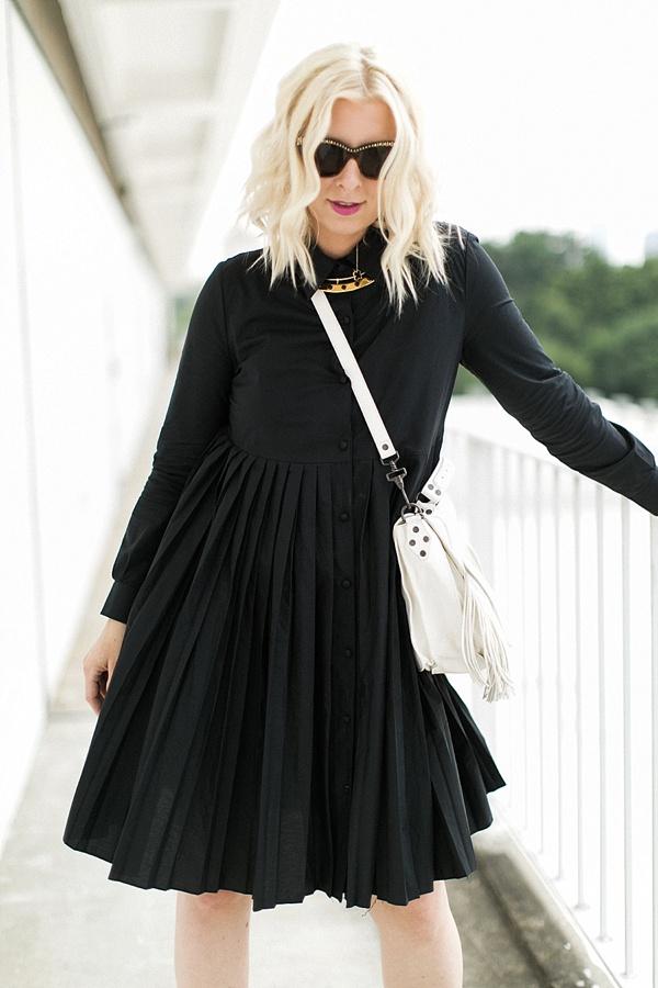 Black pleated dress, Waiting on Martha