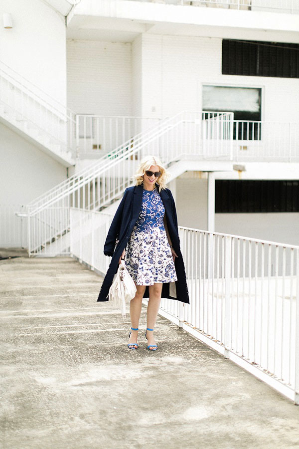 Blue and white floral dress with navy overcoat, Waiting on Martha