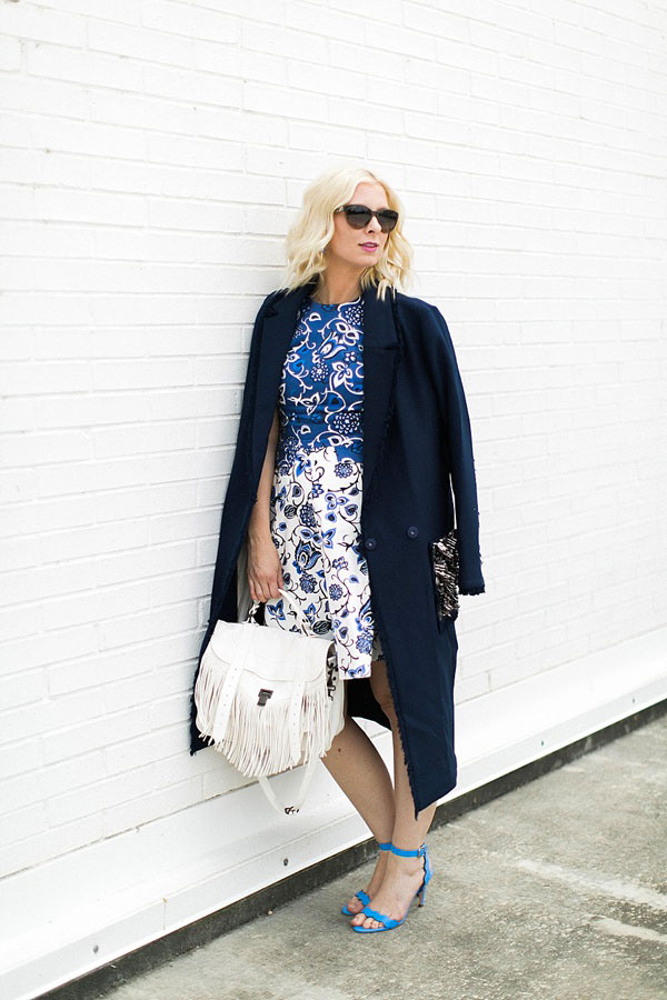 Blue and white floral dress with white fringe bag, Waiting on Martha