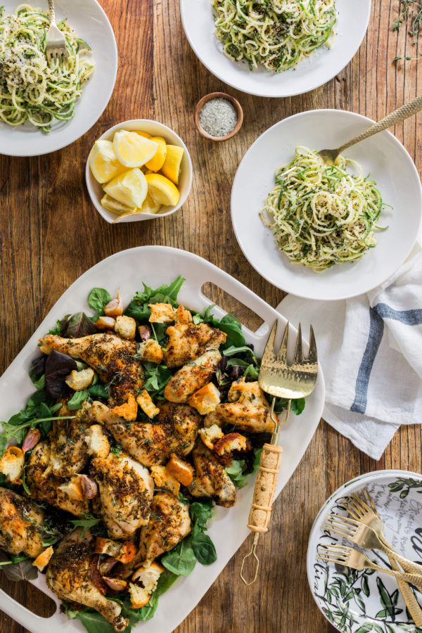 It's All Easy Zuni Sheet Pan Chicken and Zucchini Noodles recipe