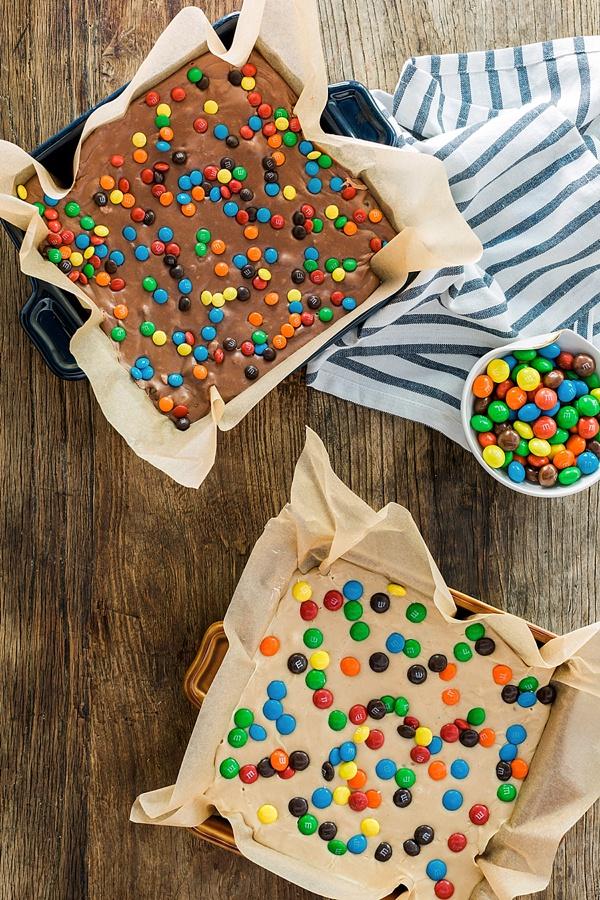 Homemade Peanut Butter Fudge with Peanut Butter M&M's + Milk Chocolate Fudge with Pretzel M&M's recipe | @mmschocolate @waitingonmartha #ad #CelebrateWithM