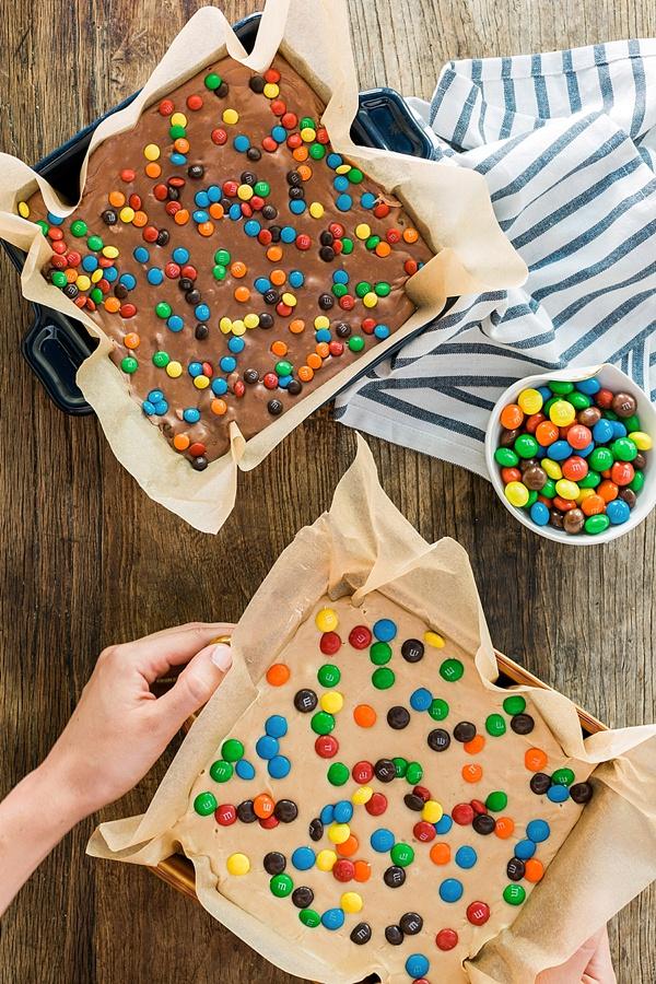 Homemade Peanut Butter Fudge with Peanut Butter M&M's + Milk Chocolate Fudge with Pretzel M&M's recipe @waitingonmartha