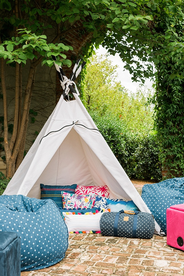 Pottery Barn teepee at an end-of-summer block party, @waitingonmartha