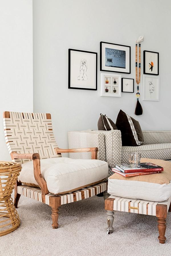 Neutral living room decor and gallery wall, @waitingonmartha #oneroomchallenge