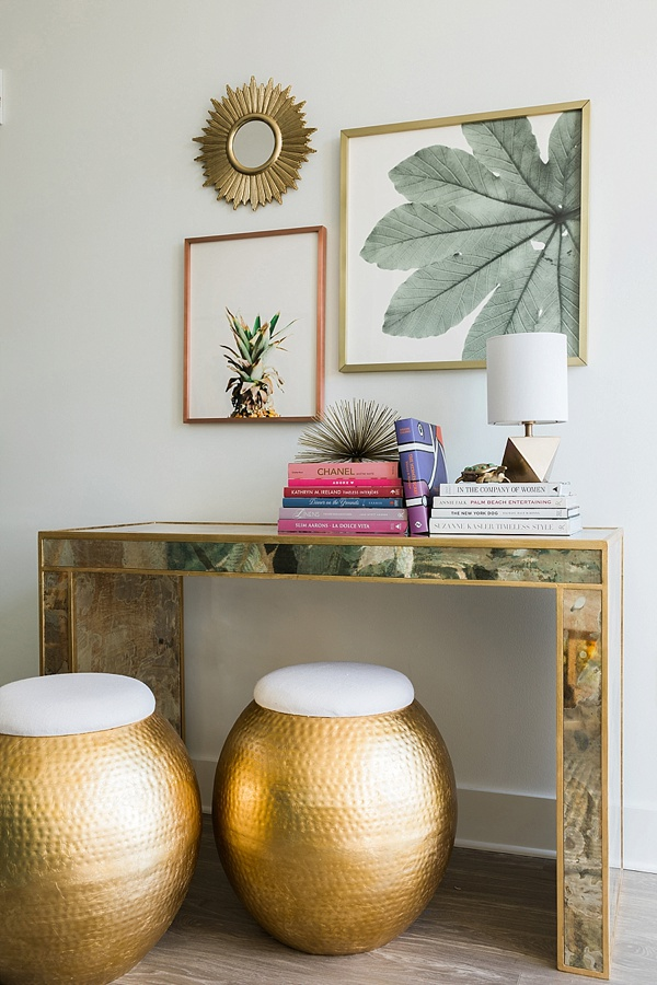 Console table with art and gold stools, @waitingonmartha