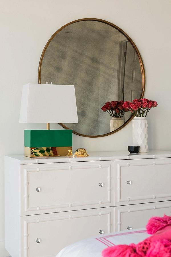 White bamboo dresser, round mirror and green lamp, @waitingonmartha