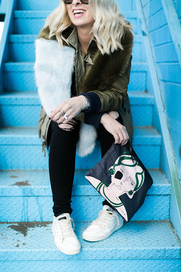 Faux fur with military jacket and black jeans. @waitingonmartha