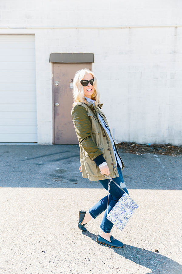 Military jacket and Chanel flats, @waitingonmartha