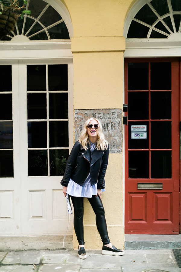 Outfit with faux leather leggings, @waitingonmartha