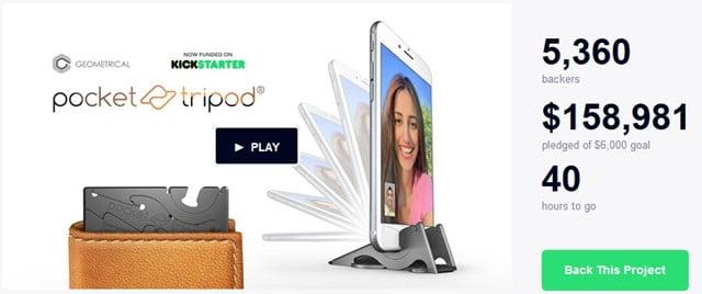 スマホ用三脚「Pocket Tripod」 カードサイズで超コンパクトな三脚が登場!出資募集額