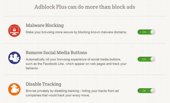 Adblock Plus privacy settings