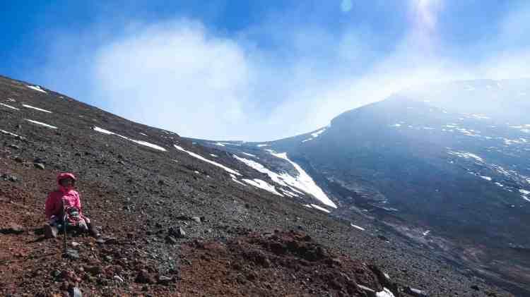 Coffee while climbing Lascar volcano