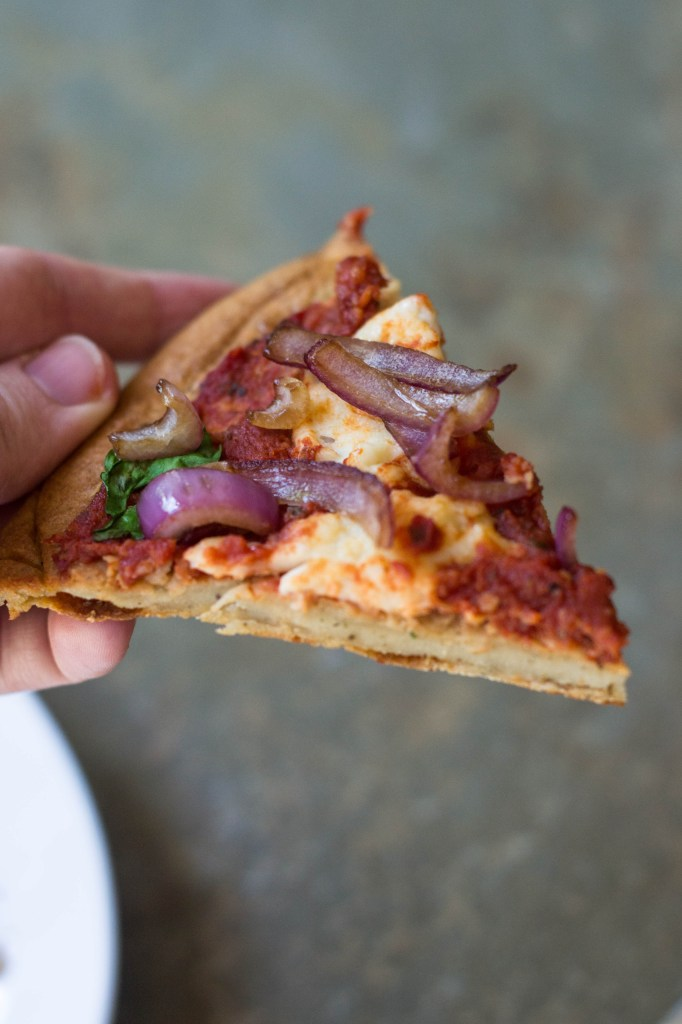 #Vegan & Grain-free Margherita Pizza with Red Onions