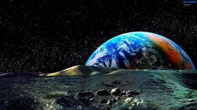 Colored earth view from the moon wallpaper 1600×900 | Wallpaper 29 HD