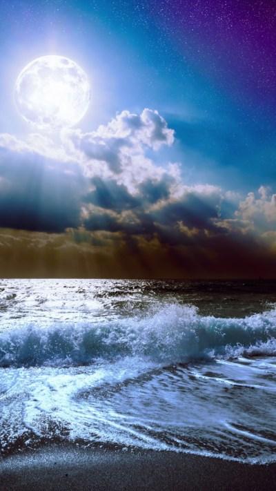Wallpaper Sea, 5k, 4k wallpaper, 8k, moon, clouds, sky, Nature #4394