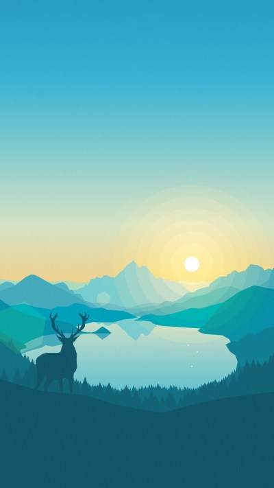 Wallpaper flat, forest, deer, 4k, 5k, iphone wallpaper, abstract, OS #11925