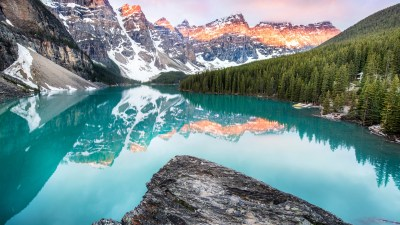 Wallpaper Moraine Lake, Banff, Canada, mountains, forest, 4k, Nature #15563