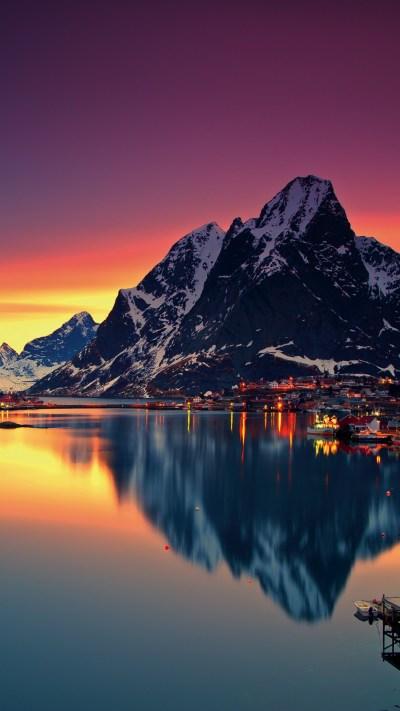 Wallpaper Norway, Lofoten islands, Europe, Mountains, sea, sunrise, 5k, Nature #16595
