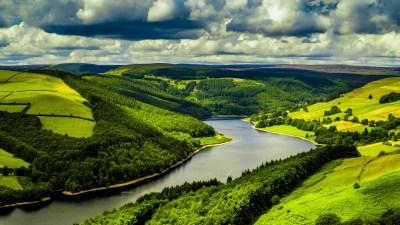Wallpaper UK, 4k, HD wallpaper, hills, river, trees, sky, Nature #5284