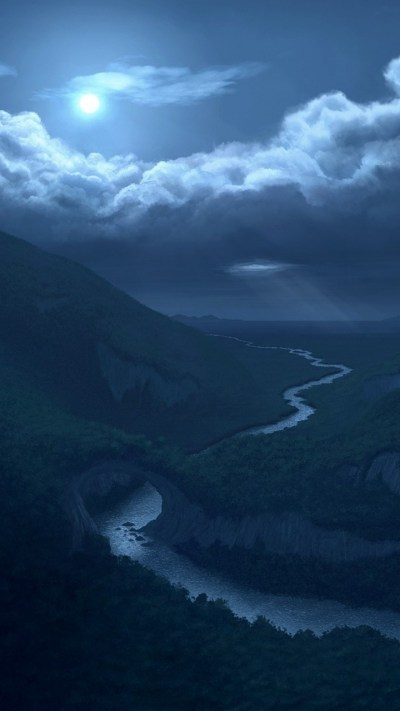 720x1280 Moon Clouds Mountains & River Galaxy s3 wallpaper