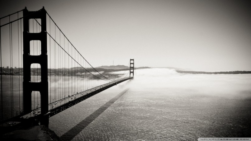 Golden gate bridge black and white hd desktop wallpaper