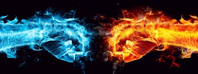 Water And Fire Fists Battle Dual Screen Wallpapers HD / Desktop and Mobile Backgrounds
