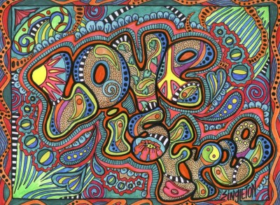 psychedelic, Typography, Love, Hippie, Colorful, Drawing ...