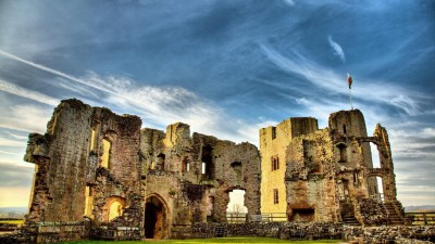 architecture, Castle, Nature, Landscape, Hill, Trees, Forest, Wales, UK, Ruin, Clouds, Walls ...