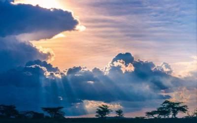 nature, Landscape, Sunset, Clouds, Trees, Savannah, Africa, Sun Rays, Sky, Blue, Space ...