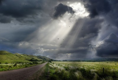nature, Landscape, Sunbeams, Dirt Road, Clouds, Field, Hill, Sky, Birds, Flying, Fence, Grass ...