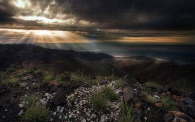 nature, Landscape, Sun Rays, Mountain, Shrubs, Dark, Clouds, Sky, Sunlight, Mongolia, Sunrise ...