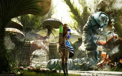 Alice In Wonderland, Fantasy Art, Syringe, Mushroom Wallpapers HD / Desktop and Mobile Backgrounds