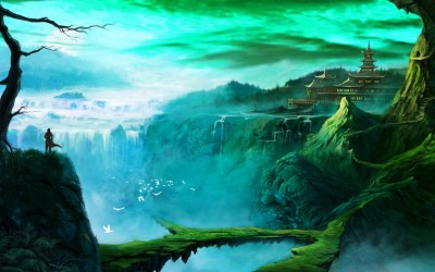 fantasy Art, Temple, Waterfall Wallpapers HD / Desktop and Mobile Backgrounds