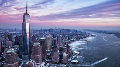 New York City, City, USA, Freedom Tower, Manhattan, Hudson River, Winter, River, One World Trade ...