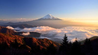 Mount Fuji, Clouds, Trees, Sky, Nature, Landscape, Mist, Sunlight, Top View Wallpapers HD ...