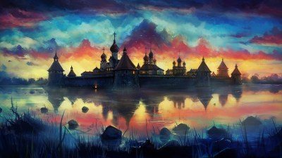 drawing, Painting, Monastery, Reflection, Clouds, Colorful Wallpapers HD / Desktop and Mobile ...