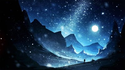 digital art, Constellations, Mountains, Looking into the distance Wallpapers HD / Desktop and ...
