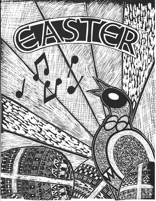 Easter Scraperboard Illustration (small format)