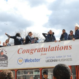 Pictured here after winning the 2013 NCAA Tournament, the UConn Women's Basketball team has won four consecutive national championships.