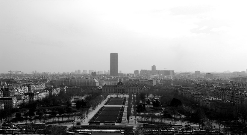 Eiffel tower, Paris, view from Eiffel Tower, black and white photography, France