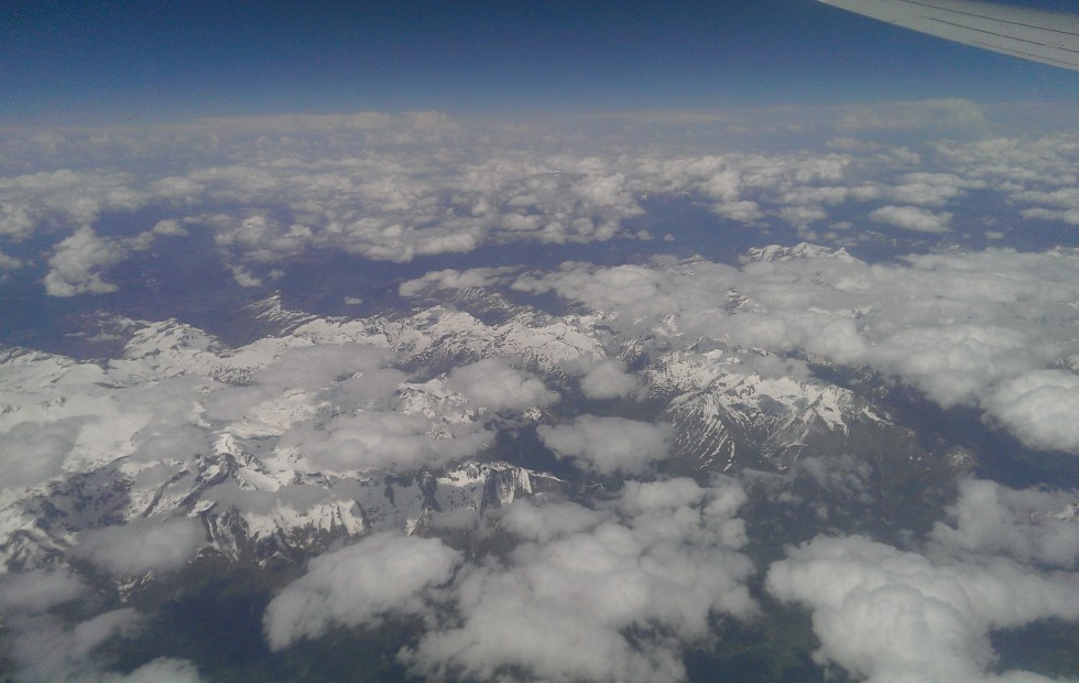 View from aeroplane, the alps, what to do if you miss your flight
