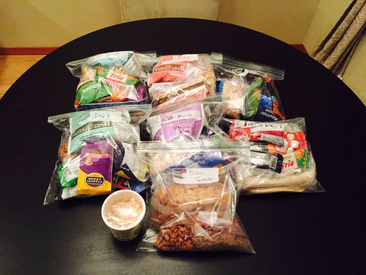 6 days rations + snacks.